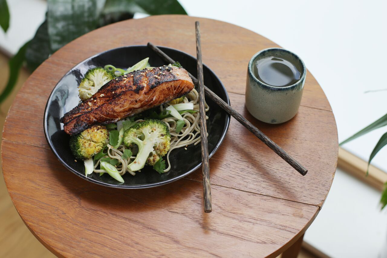 Miso glazed salmon with roasted broccoli and soba noodle salad